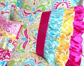 Designer Waterfall Pillow shams, Ruffled Pillow Shams, Kumari, Tarika Blue Pillow Shams, Kumari Garden Children's Bedding, Pillow Shams