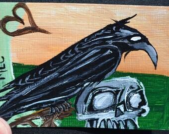 Crow Black Bird Aceo, Skull, Atc, Painting, Original Acrylic, Guardian