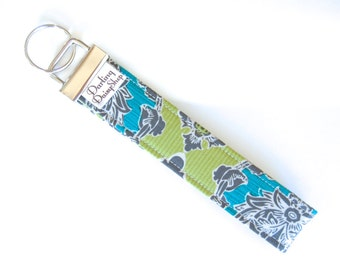 Fabric Key Fob - Moss Green Turquoise and Slate Gray