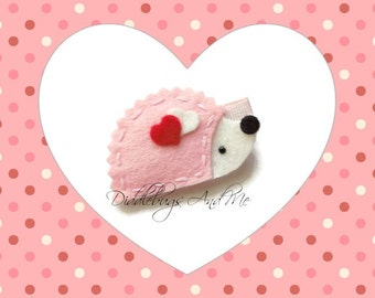 Hedgehog Hair Clip, Pink and White Hedgehog Hair Clip, Animal Hair Clip, Girls Hair Clips, Felt Hair Clips,  Hair Clips For Toddlers,