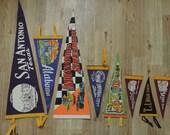 vintage felt souvenir pennant collection. collectible wall decor / travel.