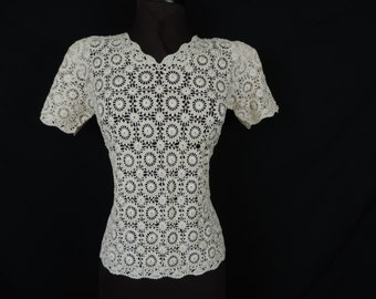 60s lace blouse ivory delicate lacy sheer top boho festival fashion small new old stock