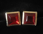 Red Glass Cuff Links, Square Gold Plated Setting