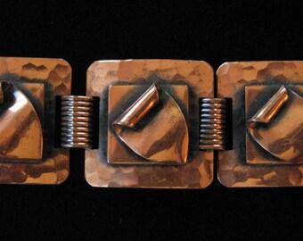 Mid Century Modern Bold Folded Copper Link Bracelet