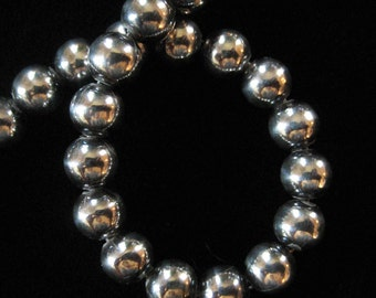 Sterling Silver Beaded Bracelet, 6 mm Beads, ITALY