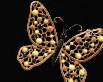 Tan Enamel Butterfly with Black and Yellow