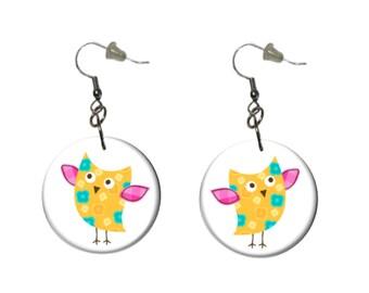 Yellow Owl Earrings Yellow Pink Turquoise Owl Dangle Earrings Fun Casual Earrings