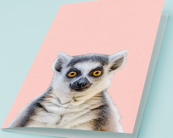 Printable Greeting Card HAPPY LEMUR Cute Smiling Monkey Lovely Birthday Card Thank You Note Good Mood Friendly Animal Modern Hipster 5x7 4x6
