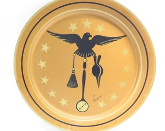 Eagle Serving Tray Vintage 1970s Shabby Chic Americana Tin Platter