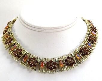 Signed Lisner Choker Necklace Vintage 1950s Goldtone Twigs and Topaz Rhinestone Flower Adjustable Necklace
