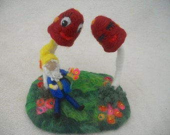 Waldorf Gnome  felted play mat felted play scape nature table needle felted red mushrooms red toadstools garden gnome hand felted