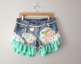 Cow Girl Glam Shorts by Gina Louise - Farm Girl Funky Fringe shorts - Upcycle, recycle