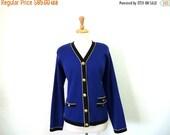Mothers Day Sale Vintage Cobalt blue Knit Jacket button front St. John design Large