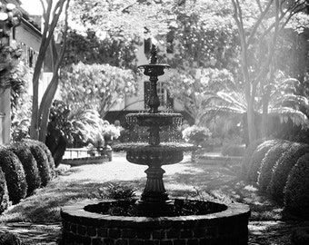 Black and White Garden Fountain Photograph, Charleston South Carolina Home Decor, Southern Fine Art Print, Affordable Wall Art, Romantic