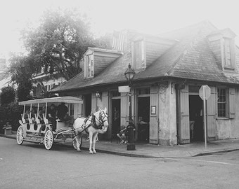 "New Orleans Art. Jean Lafitte's Blacksmith Shop Photography. ""Bourbon and Blacksmith"" French Quarter Photograph Black and White."