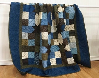 Throw Quilt Union Blues HANDMADE Patchwork Quilt Moda Blue Brown Cream 80x80""