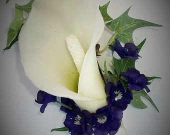 Purple Ivory Off-White Real Touch Latex Calla Lily Boutonniere, Bout Corsage