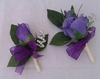 Boutonniere OR Corsage Silk Purple Rose, Bud, Pearl Accent Wedding, Prom.