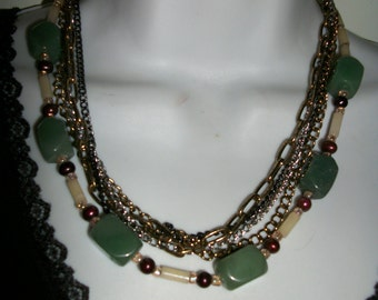 Green Aventurine and  Multi chains  necklaces