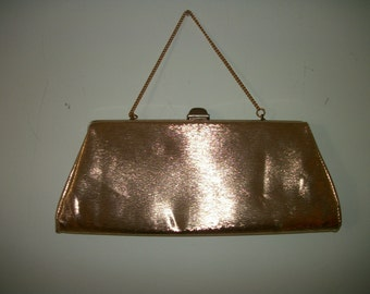 Vintage 60s  golden  retro cluch purse on Sale