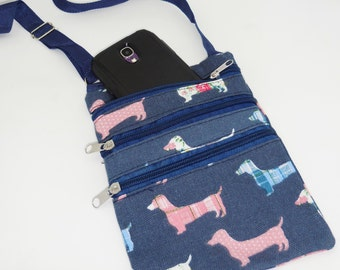 Wiener Dog Dachshund Multi Pouch Messanger Bag with Zippers Denim Blue