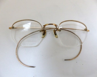 Antique 1920s Eyeglasses // 20s 30s Rare Vintage Frames // Gold filled // Hexagon Lens // Art Craft/#101