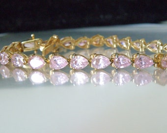 14Kt Yellow Gold Over Sterling Silver 925 14ct Pink Cubic Zirconia Pear Cut Tennis Link Bracelet