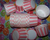 Treat/Portion Cups, Pink/white Stripes, Party Cups, Cupcake Baking 12 Polka Dots Treat Cups