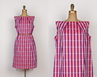 Vintage 1960s Shift Dress - Woven Cotton Plus Size Dress - Red Chambray Dress with Purple Check - xl