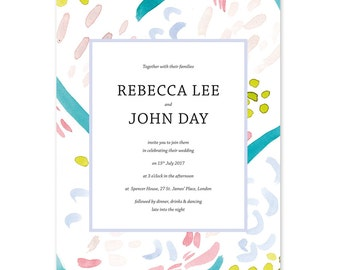 x 30 Hand painted Brooklyn wedding invitations