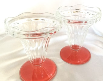 Set of two vintage French ice cream parfait glasses