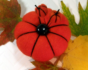 Pincushion, Pumpkin Patch, Mini Wool PIncushion with Felted Pumpkin Pins, Dark Orange- Ready to Ship