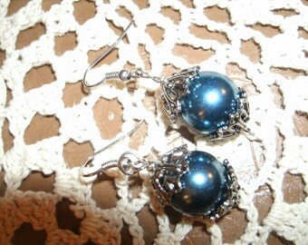 Shiny Slate Blue Faux Pearl earring with Silvertone Accents