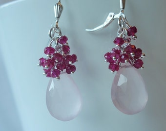 Cascade gem earrings, rose quartz & spinel, womens gift, artisan quality, fine jewelry, design, wire wrapped, statement