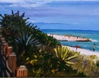 Florida Boardwalk Ocean Landscape - 7x5in Original Mini Oil Painting