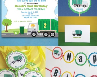 Garbage Truck Party Package, Recycling Party, Garbage Truck Birthday, Invites, Favor Tags, Cupcake Toppers, Birthday Banner, Thank Yous