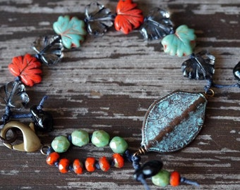 Turquoise and Coral Bracelet - Boho - Leaf Bracelet - Knotted - Bead Soup Jewelry