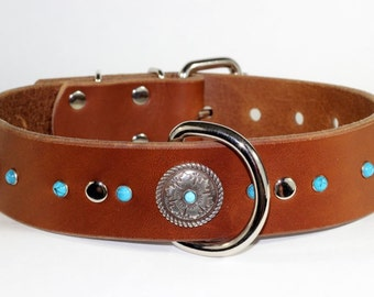 Turquoise Studded Leather Dog Collar,  Scroll Concho Leather Dog Collar, Handmade Dog Collar by Rad N Bad Collars