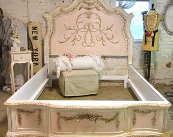 French Bed Painted Cottage Romantic French  Queen / King / Bed