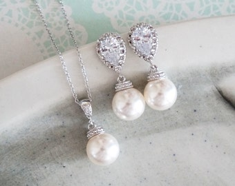 Charlotte - Cubic Zirconia Earrings, Crystal teardrop, Swarovski pearl drop, Wedding Bridal, Bridesmaid earrings, Clear White weddings