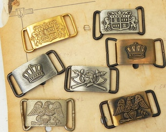 7 Vintage Metal Belt Buckles Crown Emblem Eagle Sample Stock