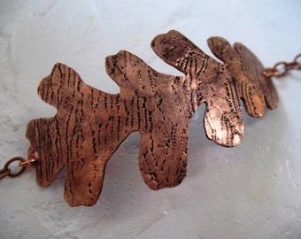 Textured Copper Oak Leaf Bracelet
