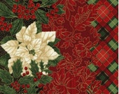 Timeless Treasures Poinsettia Border Stripe Fabric by the yard C3280