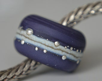 Silver Core Option -  Lapis Purple Handmade Lampwork Glass European Charm Bead with Pure Silver Decoration - Fits all charm bracelets