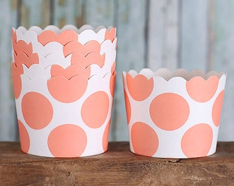Coral Baking Cups, Coral Cupcake Cups, Coral Candy Cups, Wedding Favor Cups, Small Baking Cups, Coral Treat Cups, Coral Sweet Cups (24)