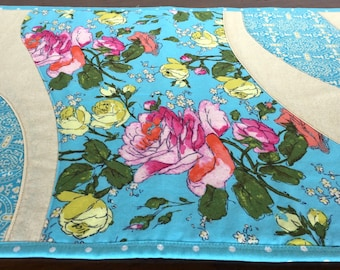 Quilted Summer Party Table Runner, Hostess Gift, Housewarming Present; Blue and Gold with pink and yellow.
