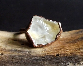 Rough Stone Jewelry Raw Citrine Ring Size 7 Birthstone November Citrine Jewelry Copper Gemstone Raw Crystal Ring boho