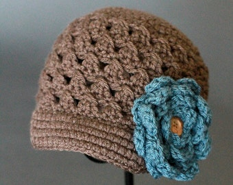 Crochet Hat PATTERN Chloe Newsboy Hat with Rose (5 Sizes Included: Newborn to Ladies) Permission to sell all finished items