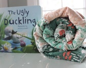 Rag Quilt for Baby - Swan Gift Set with Book - Girl - The Ugly Ducking - Reversible - READY TO SHIP