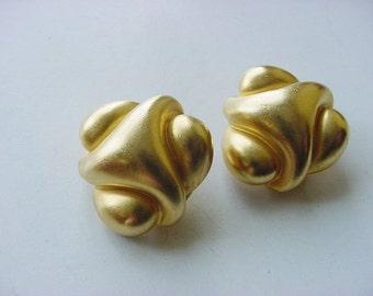 BG438 KJL Kenneth J Lane Vintage Satin Gold Tone Earrings Clip Back